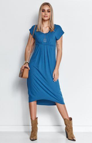 Sukienka midi z dekoltem w serek niebieska