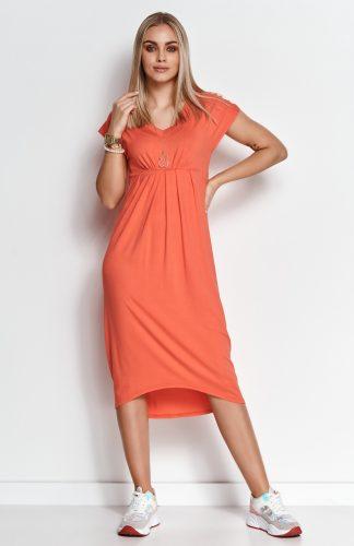 Sukienka midi z dekoltem w serek pomarańczowa