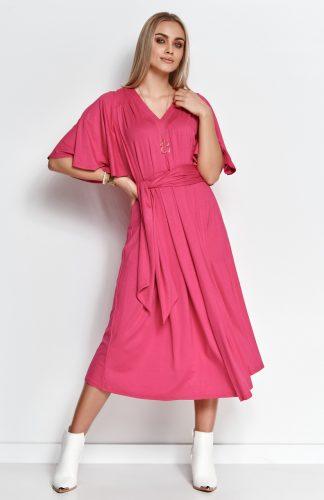 Sukienka wizytowa midi z paskiem i szerokimi rękawami amarant, to elegancka propozycja na wiele okazji. Uszyta z bardzo dobrej jakości dzianiny wiskozowej.