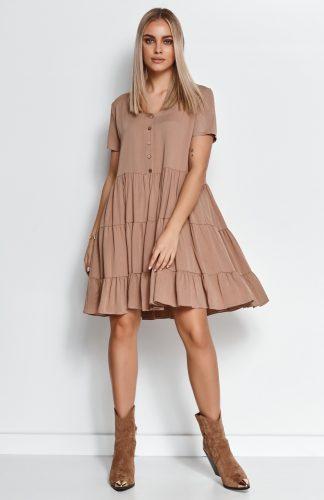 Zwiewna sukienka z falbanami cappuccino