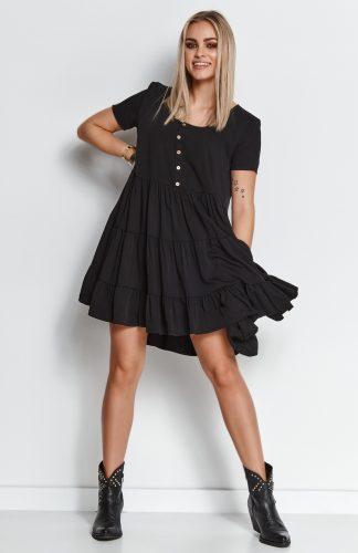 Zwiewna sukienka z falbanami czarna