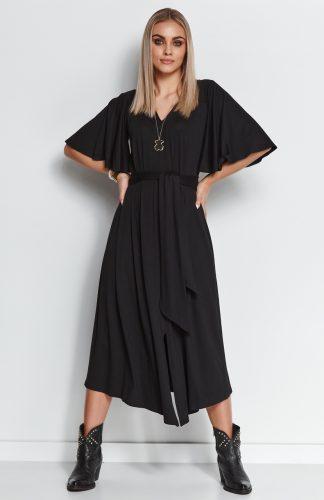 Sukienka wizytowa midi z paskiem i szerokimi rękawami czarna
