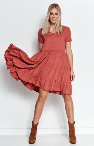 Zwiewna sukienka z falbanami indyjski róż