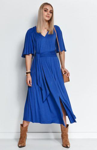 Sukienka wizytowa midi z paskiem i szerokimi rękawami niebieska
