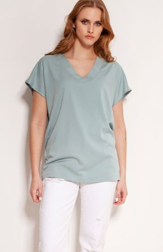 Elegancki t-shirt z wiskozy luźny miętowy