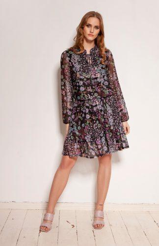 Sukienka szyfonowa w kwiaty z falbanami