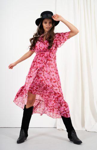 Zwiewna sukienka midi z jedwabiem i z falbanami