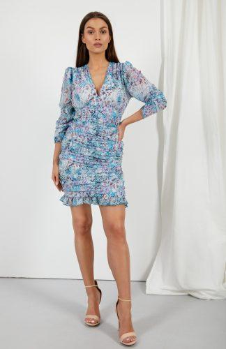Sukienka ołówkowa mini z szyfonowymi rękawami