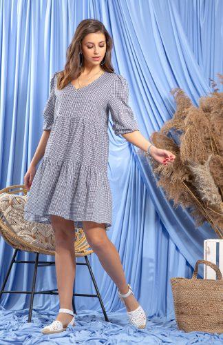 Sukienka bawełniana luźna z bufiastymi rękawami