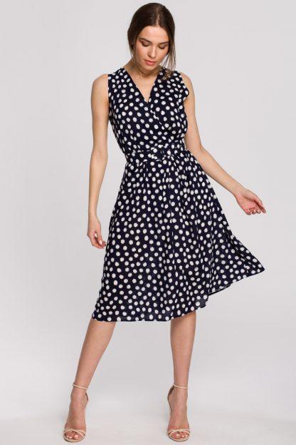Sukienka wiskozowa bez rękawów za kolano