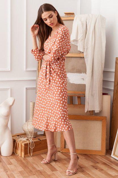 Sukienka midi z paskiem kimonowa łososiowa