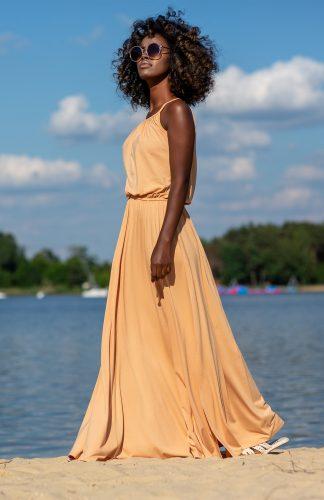 Sukienka maxi z bawełny na ramiączkach