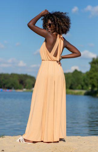 Sukienka wiskozowa maxi z wiązaniem na plecach