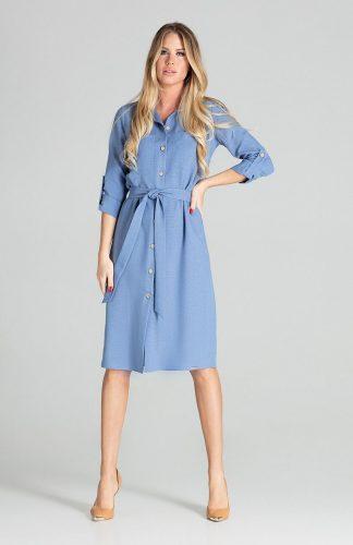 Sukienka koszulowa na guziki z paskiem niebieska