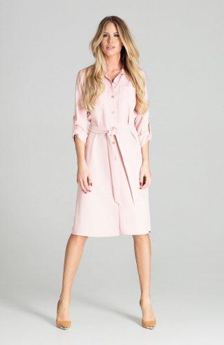 Sukienka koszulowa na guziki z paskiem różowa