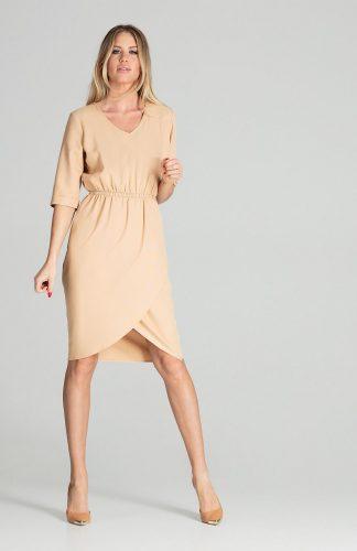 Sukienka midi elegancka z gumką w pasie beżowa