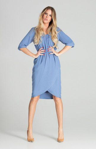 Sukienka midi elegancka z gumką w pasie niebieska