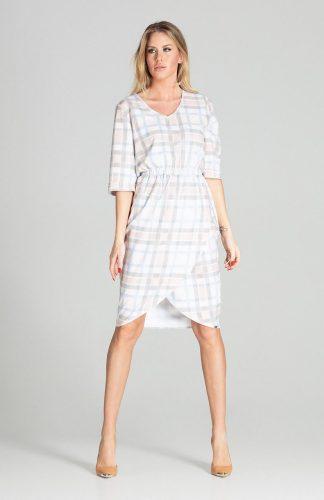 Sukienka midi elegancka z gumką w pasie w kratę