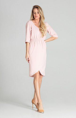 Sukienka midi elegancka z gumką w pasie różowa