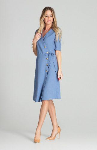 Sukienka kopertowa midi niebieska