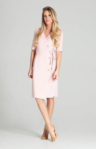 Sukienka kopertowa midi różowa