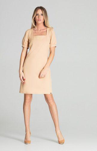 Sukienka midi lekko taliowana beżowa