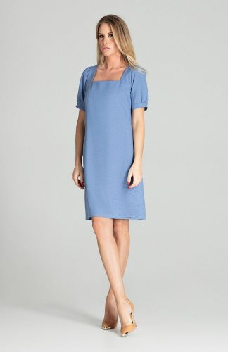 Sukienka midi lekko taliowana niebieska