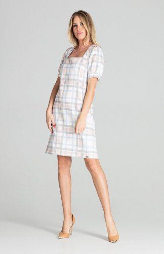 Sukienka midi lekko taliowana w kratkę