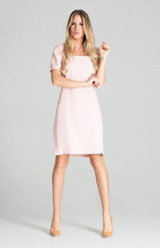 Sukienka midi lekko taliowana różowa