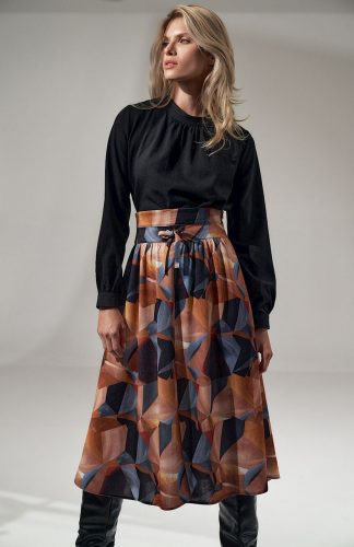 Bluzka damska elegancka z długim rękawem czarna