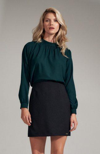 Bluzka damska elegancka z długim rękawem zielona