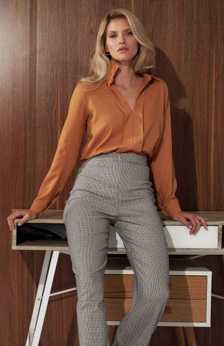 Bluzka damska koszulowa elegancka brązowa