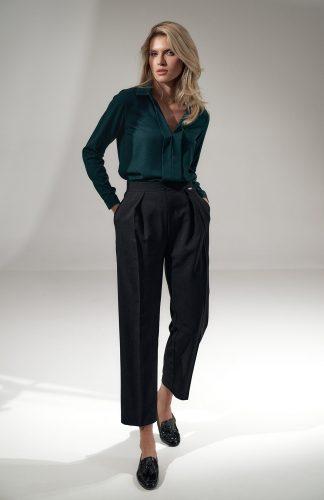 Bluzka damska koszulowa elegancka zielona