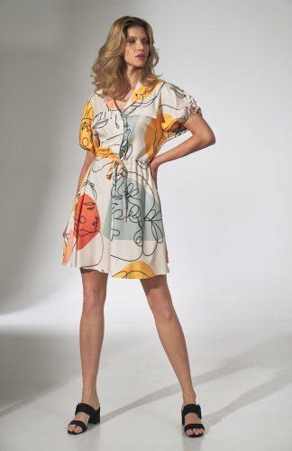 Sukienka koszulowa kimonowa rozkloszowana
