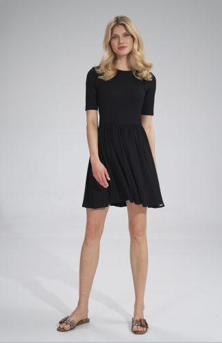 Sukienka wiskozowa na lato rozkloszowana czarna