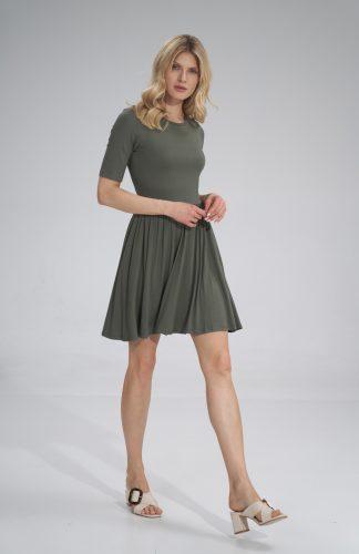 Sukienka wiskozowa na lato rozkloszowana oliwkowa