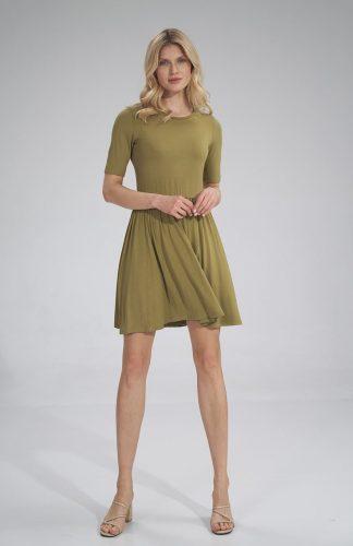 Sukienka wiskozowa na lato rozkloszowana oliwka