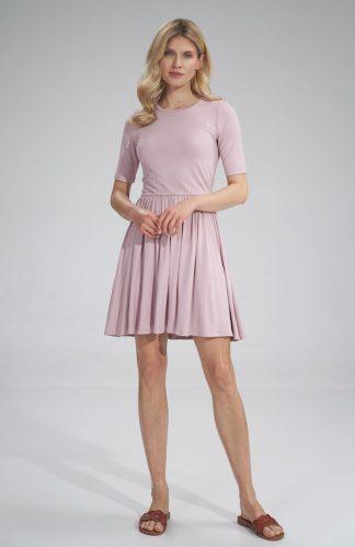 Sukienka wiskozowa na lato rozkloszowana różowa