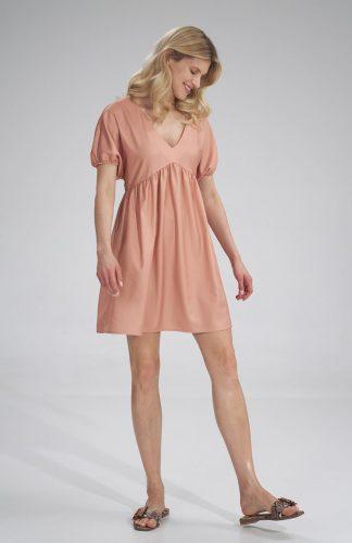 Sukienka odcinana pod biustem do kolan pomarańczowa