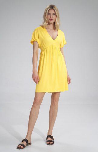 Sukienka odcinana pod biustem do kolan żółta