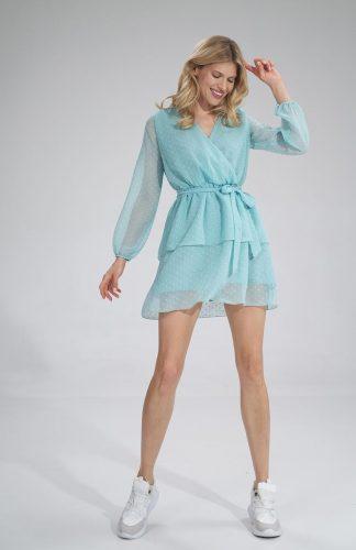 Sukienka szyfonowa kopertowa wizytowa z falbanami miętowa
