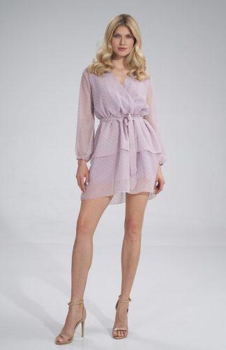 Sukienka szyfonowa kopertowa wizytowa z falbanami fioletowa