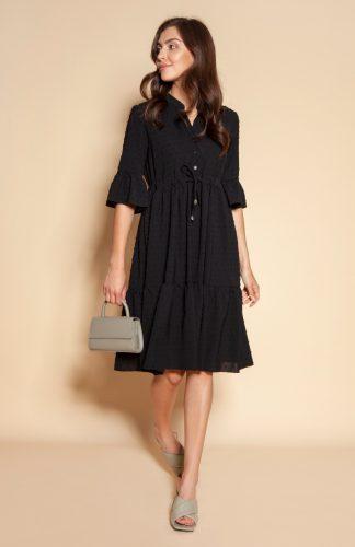Sukienka koszulowa z falbanami do kolan czarna