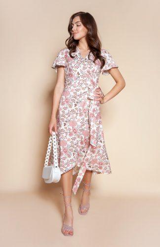 Sukienka kopertowa asymetryczna midi w kwiaty