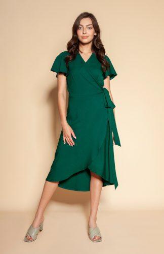 Sukienka kopertowa asymetryczna midi zielona