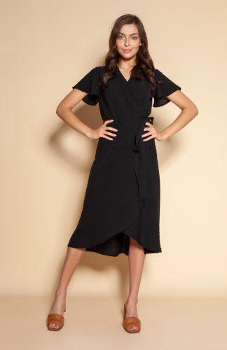Sukienka kopertowa asymetryczna midi czarna