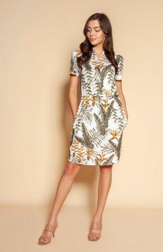 Sukienka koszulowa rozkloszowana do kolan