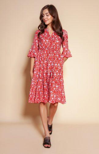 Sukienka z falbanami do kolan w kwiaty