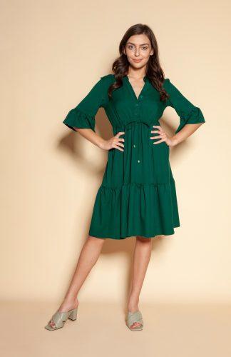 Sukienka koszulowa z falbanami do kolan zielona