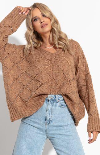 Sweter ażurowy luźny z dekoltem w serek